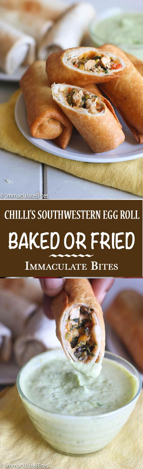 Baked or Fried Chili's South Western Egg Rolls and dip, SO EASY to make. You won't be able to tell the difference.