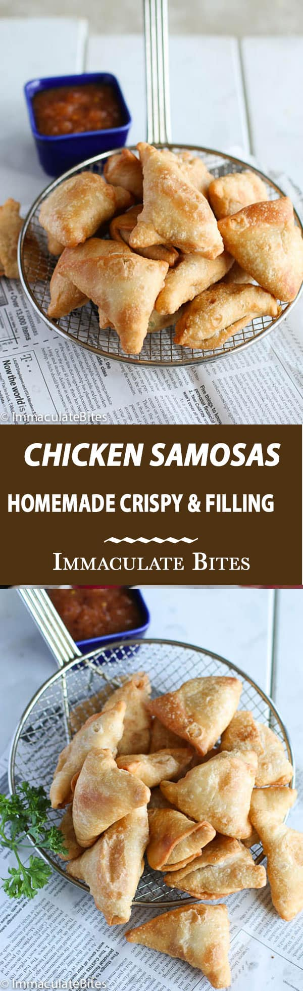 Baked or Fried Super Crispy Chicken Samosas full of chicken , peasand spiced up with just enough spices and heat