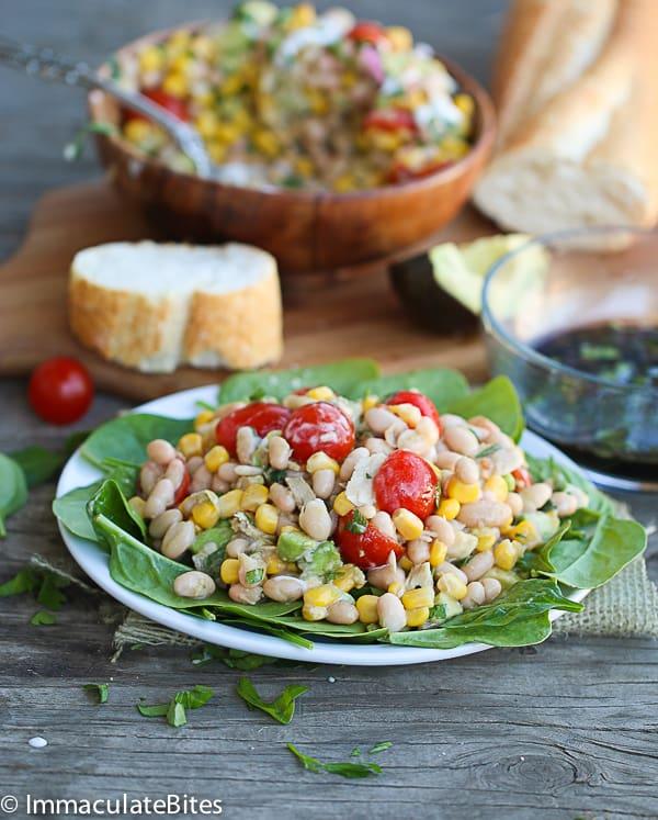 Avocado white bean tuna salad