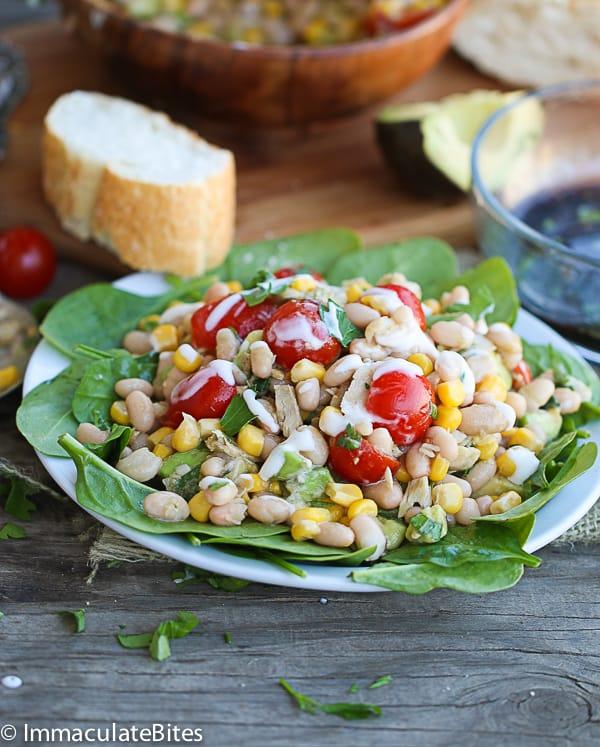 Avocado white bean and tuna salad