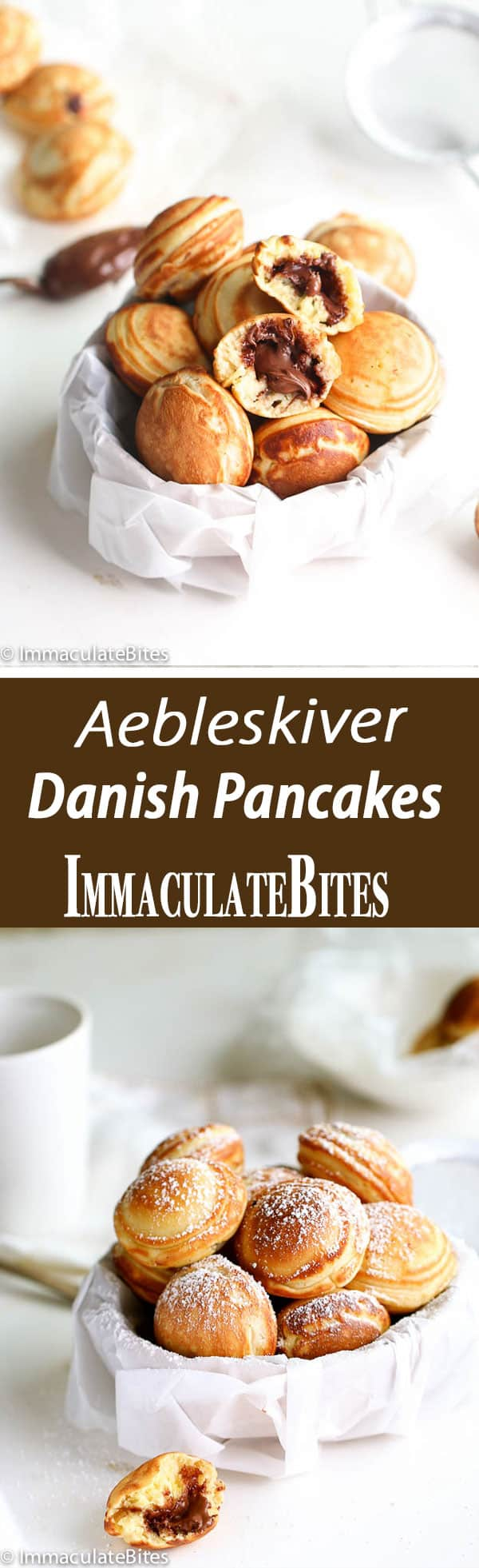 Aebleskiver Danish Pancakes stuffed with Nutella