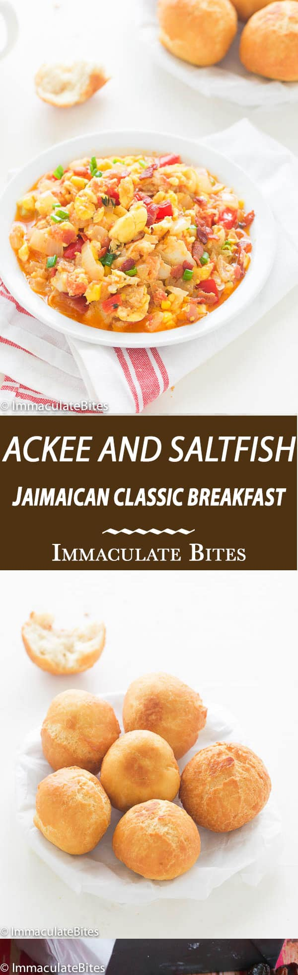 A quintessential Jamaican Breakfast made with Ackee , Salt fish with , onions, tomatoes, red bell pepper, then infused with garlic , thyme and spices hearty and satisfying a taste bud sensation.