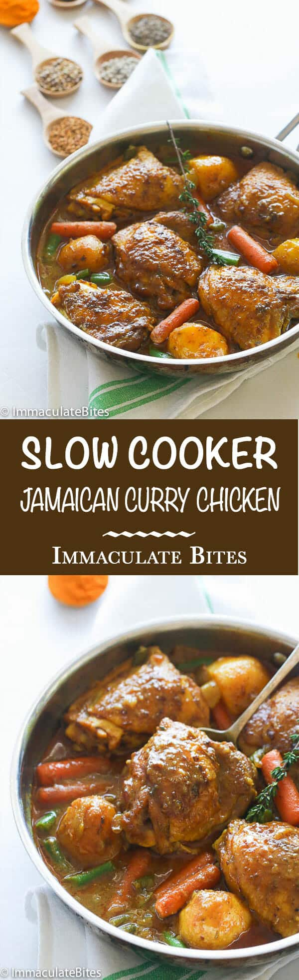 Slow cooker jamaican curry chicken immaculate bites jamaican curry chickenicken thighs seasoned and cook in thick flavorful creamy gravy of forumfinder Gallery