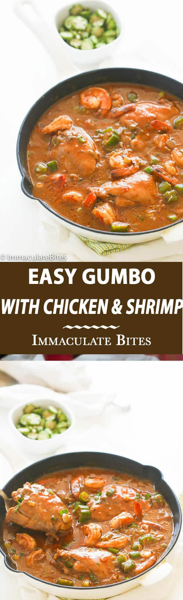 Easy Chicken and Shrimp Gumbo-Impossible to resist with it's rich authentic flavors