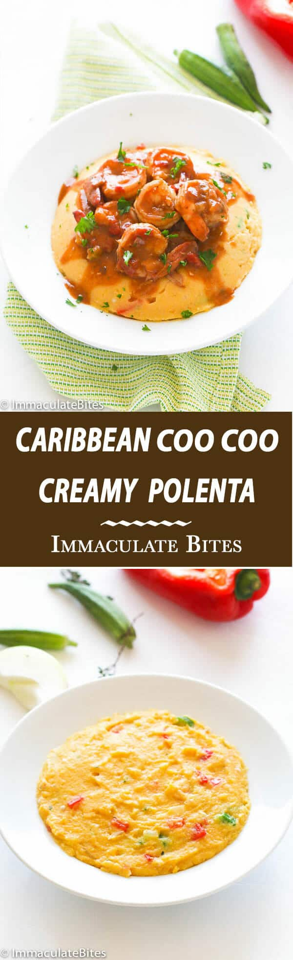 Cornmeal Coo coo aka CouCou.  Creamy , thick and hearty Polenta -Caribbean style  . An intriguing side dish with tons of flavor.